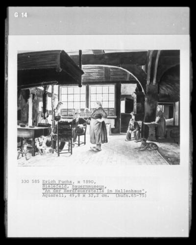 An der Herdfeuerstelle im Hallenhaus (Bauernmuseum; Bielefeld)