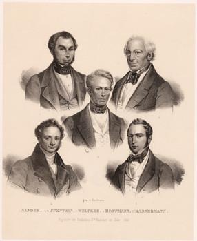 Gedenkblatt: Fünf Deputierte der 2. Badischen Kammer im Jahr 1842.