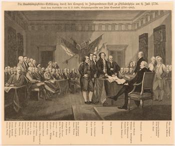 Szenische Darstellung: Amerikanische Unabhängigkeitserklärung.