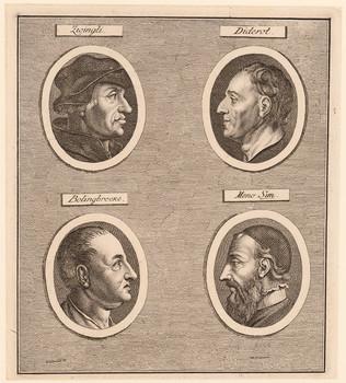Tafel mit vier Porträts: Zwingli, Diderot, Bolingbroke, Menno Simons.