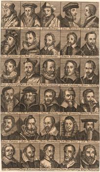 30 Porträts auf Tafel.