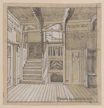 Ansicht einer Diele mit Treppe
