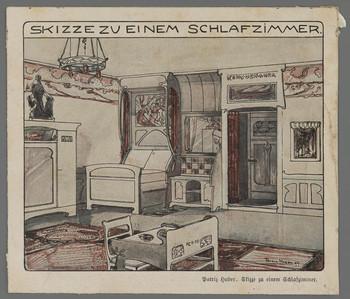 Zeitschriftenausriss (koloriert): Skizze zu einem Schlafzimmer