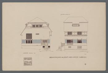 Haus Olbrich, Darmstadt: Entwürfe Westfassade und Südfassade (Blatt 2 aus den Wasmuth-Mappen, Bd. 1, Verlag Ernst Wasmuth, Berlin)