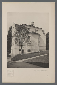 Haus Glückert, Darmstadt: Ansicht von Südosten (Blatt 56 aus den Wasmuth-Mappen, Bd. 1, Verlag Ernst Wasmuth, Berlin)