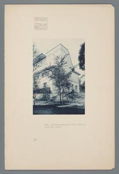 Darmstadt, Mathildenhöhe:Seitenfassade des Ernst Ludwig-Hauses (Blatt 35 aus den Wasmuth-Mappen, Bd. 1, Verlag Ernst Wasmuth, Berlin)