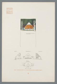 Darmstadt, Mathildenhöhe: Das Orchester im Platanenhain (Blatt 15 aus den Wasmuth-Mappen, Bd. 1, Verlag Ernst Wasmuth, Berlin)