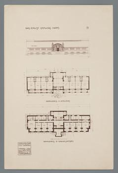 Darmstadt, Mathildenhöhe, Ernst Ludwig-Haus: Fassadenansicht und Grundrisse (Blatt 37 aus den Wasmuth-Mappen, Bd. 1, Verlag Ernst Wasmuth, Berlin)