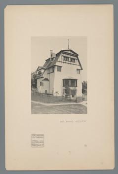Darmstadt, Mathildenhöhe: Haus Keller, Fassadenansicht (Blatt 52 aus den Wasmuth-Mappen, Bd. 1, Verlag Ernst Wasmuth, Berlin)