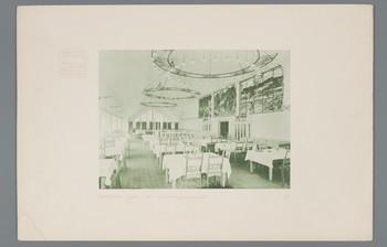 Darmstadt, Mathildenhöhe: Großer Saal des Hauptrestaurants (Blatt 42 aus den Wasmuth-Mappen, Bd. 1, Verlag Ernst Wasmuth, Berlin)