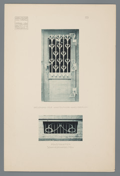 Haus Olbrich, Darmstadt: Beschlag der Gartentür, Fenstergitter, Schmiedearbeiten (Blatt 111 aus den Wasmuth-Mappen, Bd. 1, Verlag Ernst Wasmuth, Berlin)