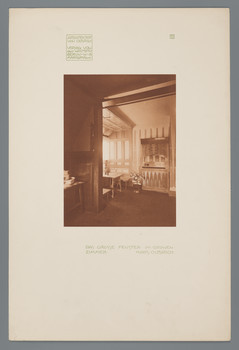 Haus Olbrich, Darmstadt: Großes Fenster im Grünen Zimmer (Blatt 11 aus den Wasmuth-Mappen, Bd. 1, Verlag Ernst Wasmuth, Berlin)