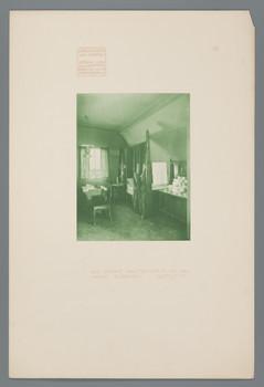 Haus Olbrich, Darmstadt: Grünes Gastzimmer, Bettseite (Blatt 12 aus den Wasmuth-Mappen, Bd. 1, Verlag Ernst Wasmuth, Berlin)