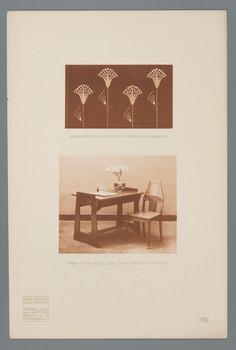 Haus Olbrich, Darmstadt: Vorhangdetail und Tisch mit Sessel aus dem Grünen Zimmer (Blatt 144 aus den Wasmuth-Mappen, Bd. 2, Verlag Ernst Wasmuth, Berlin)