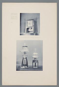 Haus Olbrich, Darmstadt: Standuhr, Petroleumlampen (Blatt 141 aus den Wasmuth-Mappen, Bd. 2, Verlag Ernst Wasmuth, Berlin)