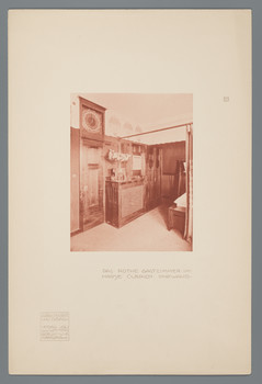Haus Olbrich, Darmstadt: Rotes Gastzimmer, Uhrwand (Blatt 17 aus den Wasmuth-Mappen, Bd. 1, Verlag Ernst Wasmuth, Berlin)
