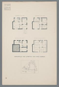 Haus Olbrich, Darmstadt: Grundrisse und Situation (Blatt 4 aus den Wasmuth-Mappen, Bd. 1, Verlag Ernst Wasmuth, Berlin)