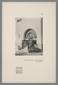 Kleines Haus Glückert, Darmstadt: Eingang (Blatt 19 aus den Wasmuth-Mappen, Bd. 1, Verlag Ernst Wasmuth, Berlin)
