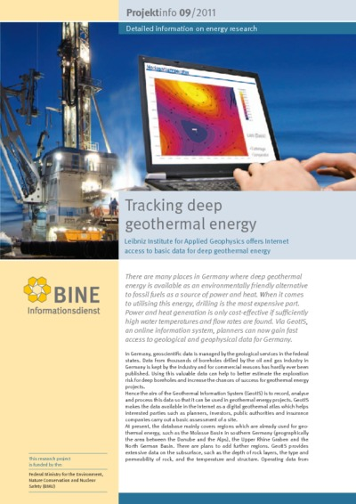 Tracking deep geothermal energy. Leibniz-Institute for Applied Geophysics offers Internet access to basic data for deep geothermal energy.