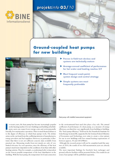 Ground-coupled heat pumps for new buildings.
