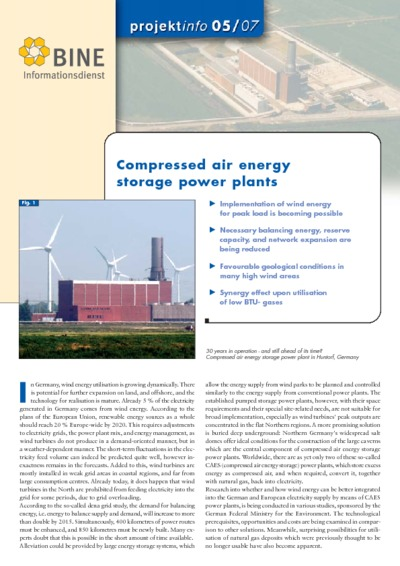 Compressed air energy storage power plants.
