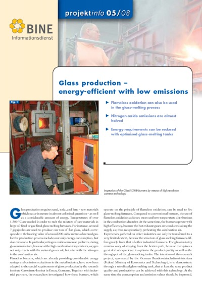 Glass production - energy-efficient with low emissions.