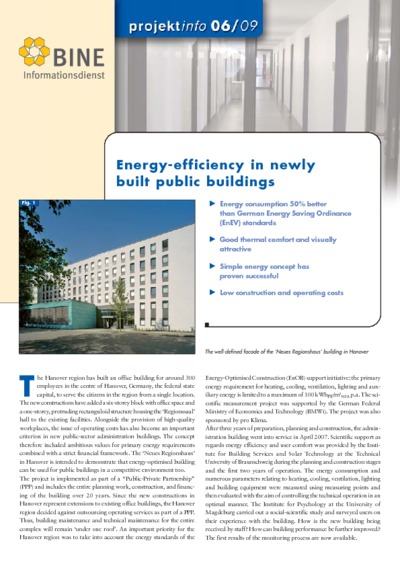 Energy-efficiency in newly built public buildings.