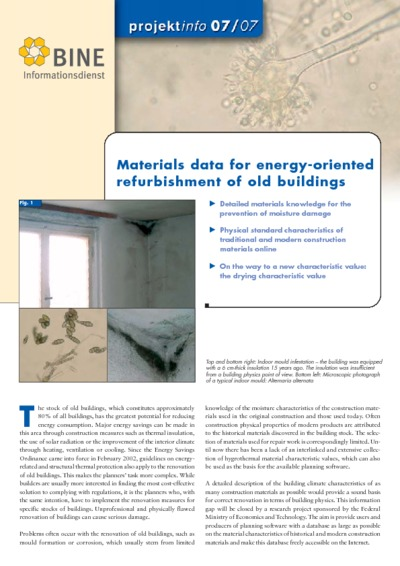 Material data for energy-oriented refurbishment of old buildings.