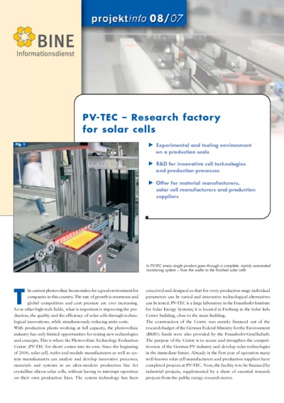 PV-TEC - Research factory for solar cells.