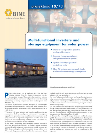 Multi-functional inverters and storage equipment for solar power.