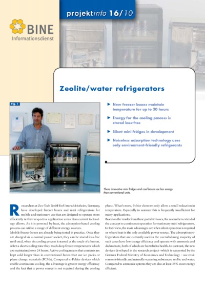 Zeolite/water refrigerators.