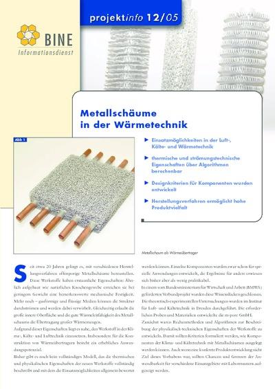 Metallschäume in der Wärmetechnik.