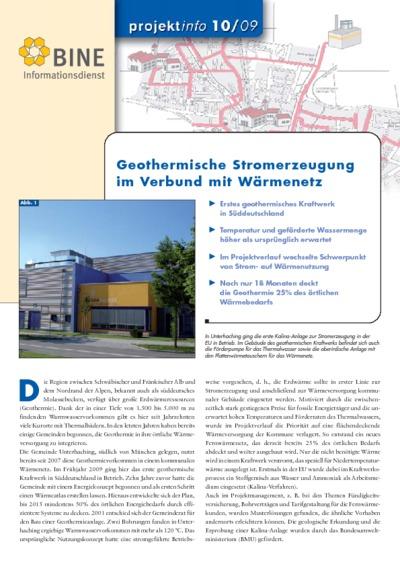 Geothermische Stromerzeugung im Verbund mit Wärmenetz.