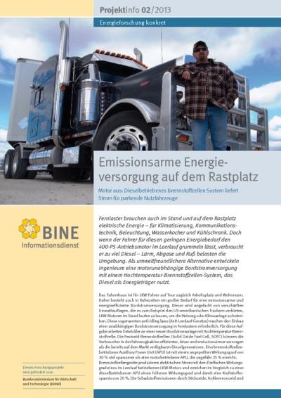 Emissionsarme Energieversorgung auf dem Rastplatz. Motor aus: Dieselbetriebenes Brennstoffzellen-System liefert Strom für parkende Nutzfahrzeuge.