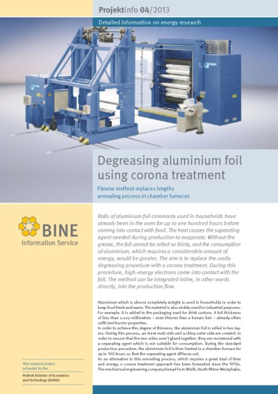 Degreasing aluminium foil using corona treatment. Plasma method of foil production.