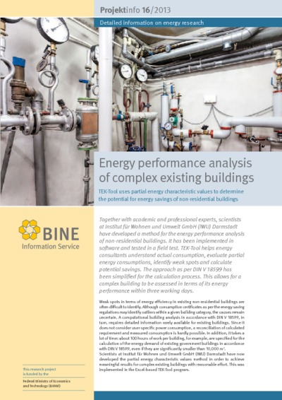 Energy performance analysis of complex existing buildings.