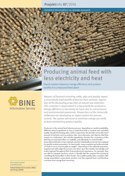 Producing animal feed with less electricity and heat. Expert system improves energy efficiency and product quality in a compound feed plant.