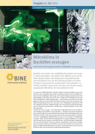 Mikroklima in Backöfen erzeugen. Optimiertes Strömungskonzept für Heißluftöfen spart Energie.