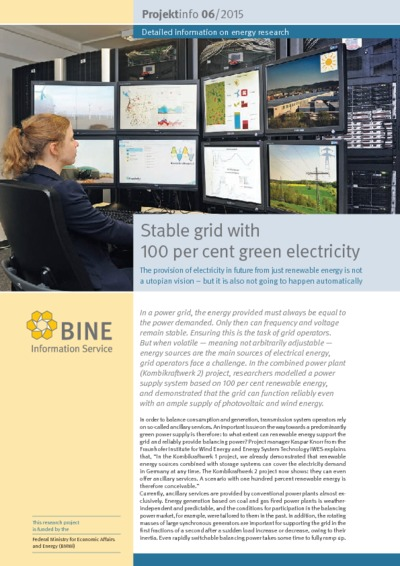 Stable grid with 100 per cent green electricity. The provision of electricity in future from just renewable energy is not a utopian vision - but it is also not going to happen automatically.