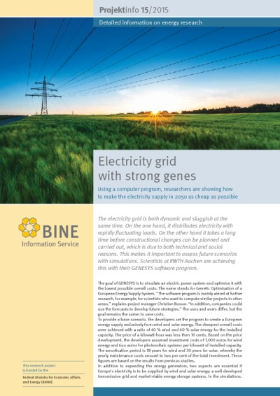 Electricity grid with strong genes. Using a computer program, researchers are showing how to make the electricity supply in 2050 as cheap as possible.