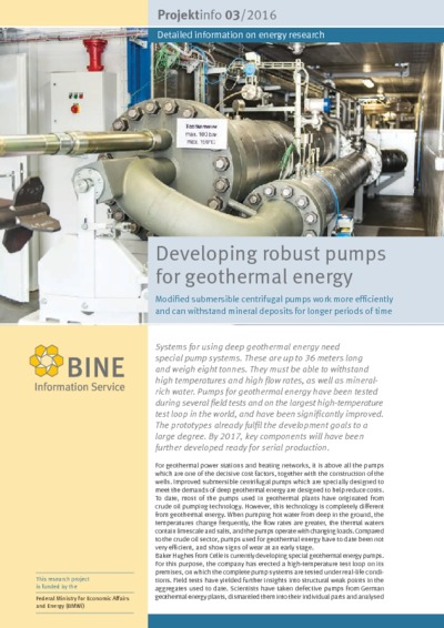 Developing robust pumps for geothermal energy. Modified submersible centrifugal pumps work more efficiently and can withstand mineral deposits for longer periods of time.