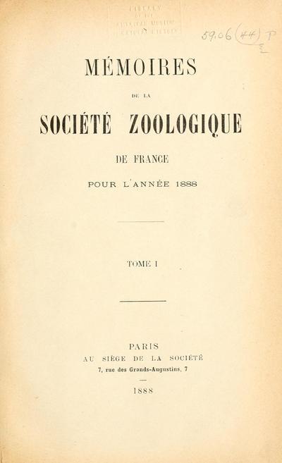 Mémoires de la Société zoologique de France.