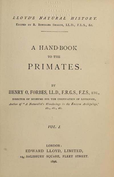A hand-book to the primates / by Henry O. Forbes.