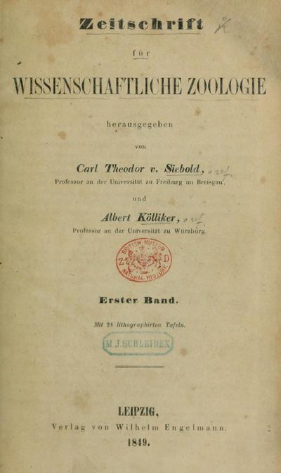 Zeitschrift für wissenschaftliche Zoologie.