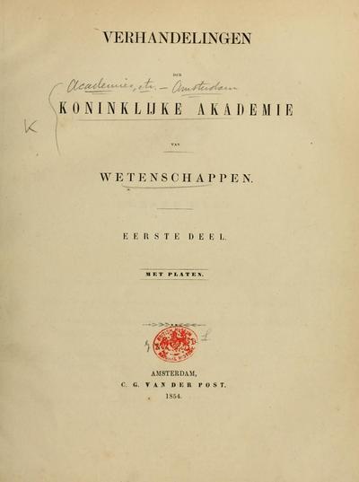 Verhandelingen der Koninklijke Akademie van Wetenschappen.