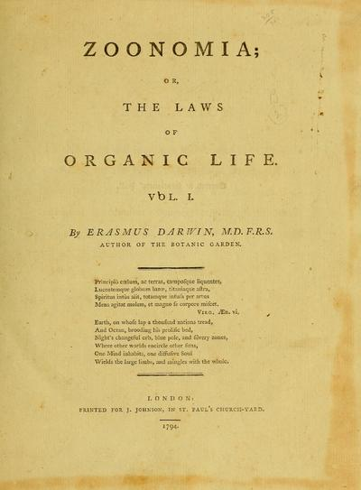 Zoonomia ; or, The laws of organic life / by Erasmus Darwin...