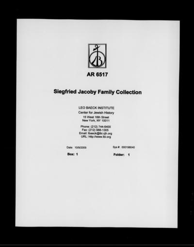 Siegfried Jacoby Family Collection