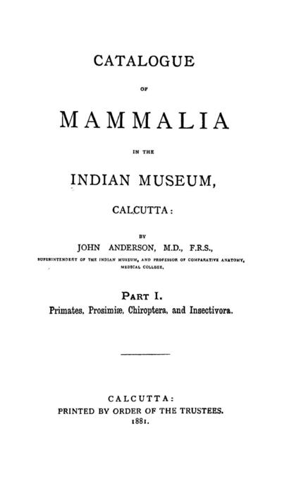 Catalogue of Mammalia in the Indian Museum, Calcutta / by John Anderson, Superintendent of the Indian Museum.