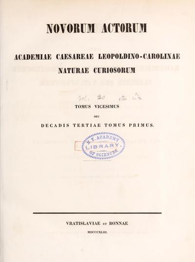 Novorum actorum Academiae Caesareae Leopoldino-Carolinae Naturae Curiosorum.