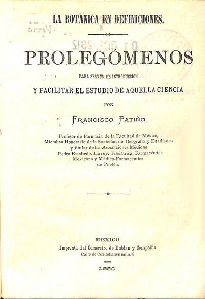 La botánica en definiciones : Prolegómenos para servir de introducción y facilitar el estudio de aquella ciencia /